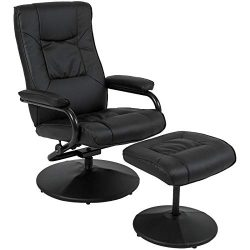 Best Choice Products Leather Swivel Recliner Chair for Home, Office w/Padded Armrests and Ottoma ...