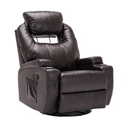 SUNCOO Massage Recliner Bonded Leather Chair Ergonomic Lounge Heated Sofa with Cup Holder 360 De ...