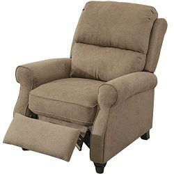 BONZY Pushback Recliner Roll Arm and Easy to Push Mechanism Recliner Chair – Light Brown
