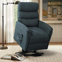 CANMOV Electric Power Lift Massage Sofa Recliner Chair Lounge with Heating System, Navy Blue