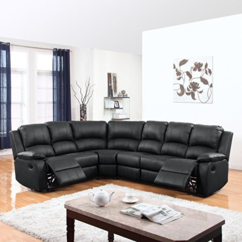 Divano Roma Furniture Large Classic and Traditional Bonded Leather Reclining Corner Sectional So ...