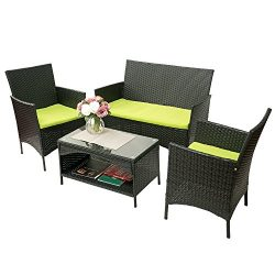 Merax 4-piece Outdoor PE Rattan Wicker Sofa and Chairs Set Rattan Patio Garden Furniture Set (Cu ...