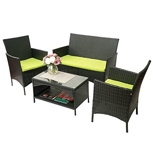Merax 4-piece Outdoor PE Rattan Wicker Sofa and Chairs Set Rattan Patio Garden Furniture Set (Cu ...