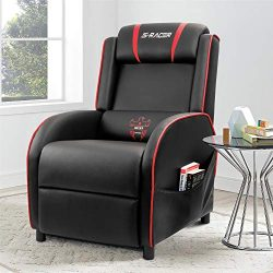 Homall Gaming Recliner Chair Single Living Room Sofa Recliner Black PU Leather Recliner Seat (Red)