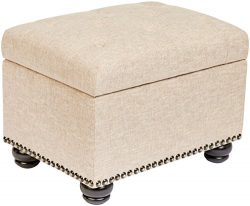 First Hill WFO016FT Fifth Avenue 5th Ave Modern Linen Upholstered Storage Ottoman, Tan