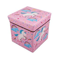 AOTUO Unicorn Collapsible Storage Ottoman Foot Rest Stool Seat Children Toy Storage Box