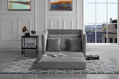 Modern Soft Brush Microfiber Modular/Convertible Sleeper Chair (Light Grey)