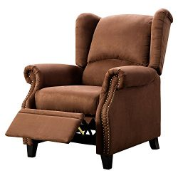 BONZY Recliner Chair Solid Wood Legs Manual Recliners Traditional Wingback Pushback – Micr ...