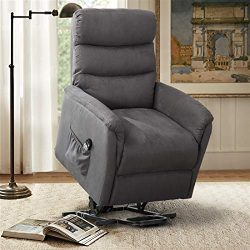 CANMOV Electric Power Lift Massage Sofa Recliner Chair Lounge with Heating System, Smoke Gray