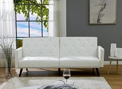 Naomi Home Convertible Tufted Split Back Futon Sofa Faux Leather/White