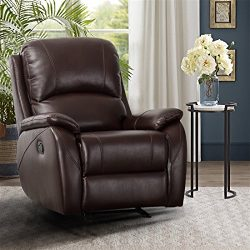CANMOV Rocker Recliner Chair – Classic and Traditional Bonded Leather Single Manual Reclin ...