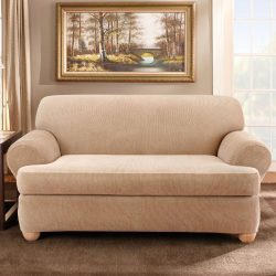 Sure Fit Stretch Stripe Separate Seat T-Cushion Loveseat Slipcover – Sand (SF37728)