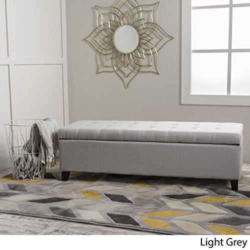 Santa Rosa Light Grey Fabric Storage Ottoman