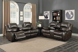 Christies Home Living Samara Sofa & Loveseat Set, Reconstituted Leather, Dark Brown