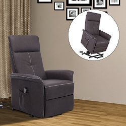 HOMCOM Faux Leather Three Position Lift Chair Recliner With Remote – Brown