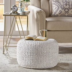 Tammy White Water Hyacinth Wicker Foot Stool
