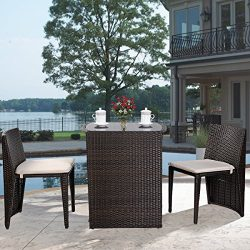 Giantex 3 PCS Cushioned Outdoor Wicker Patio Set Garden Lawn Sofa Furniture Seat Brown