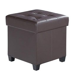 SONGMICS ULSF14BR Collapsible Cube Storage Ottoman/Foot Stool/Comfortable Seat Wooden Feet Lid,  ...
