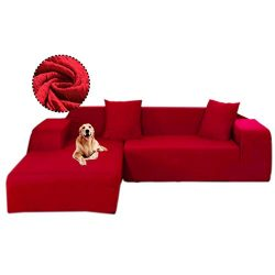 Gatycallaty Anti-Wrinkle L-Shaped Sectional Sofa Slipcovers;Anti-mite L Sofa Covers for Pets Dog ...