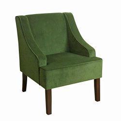 HomePop K6499-B228 Velvet Swoop Arm Accent Chair, Dark Green
