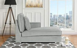 Classic Living Room Velvet Chaise Lounge (Light Grey)
