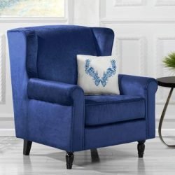 Classic Scroll Arm Velvet Fabric Accent Chair, Living Room Armchair (Navy)