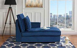 Classic Living Room Velvet Chaise Lounge (Blue)