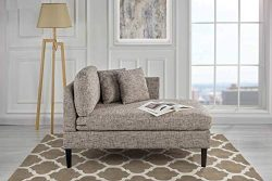 Classic Living Room Linen Fabric Chaise Lounge (Ash Brown)