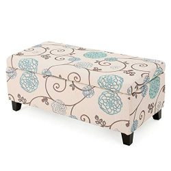 "Christopher Knight Home 299442 Living Brenway Pattern Fabric Storage Ottoman (Floral), 19.00""L x ..."