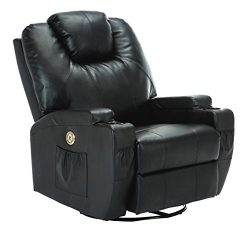 SUNCOO Massage Recliner Bonded Leather Chair Ergonomic Lounge Heated Sofa Cup Holder 360 Degree  ...