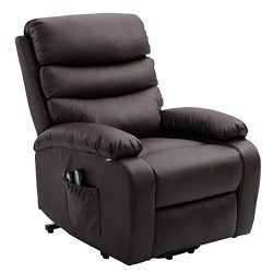 Homegear PU Leather Power Lift Electric Recliner Chair with Massage, Heat and Vibration with Rem ...