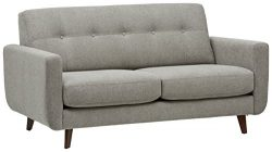 Rivet Sloane Mid-Century Tufted Modern Sofa, 64″W, Pebble