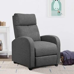 JUMMICO Adjustable Linen Recliner Chair Home Theater Single Recliner Sofa Seat Furniture Thick S ...