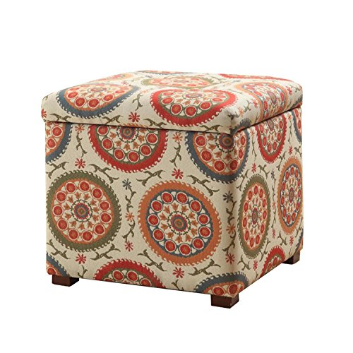 HomePop Square Upholstered Storage Ottoman with Removable Top, 17.50″ x 17.50″ x 17. ...