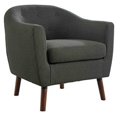 Homelegance Lucille Fabric Upholstered Pub Barrel Chair, Gray