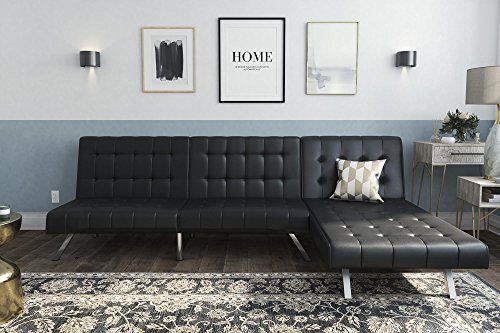 Dhp Emily Sectional Futon Sofa With Convertible Chaise