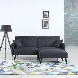 Mid-Century Modern Linen Fabric Futon Sofa Bed, Living Room Sleeper Couch (Dark Grey)