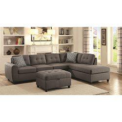 Coaster Home Furnishings 500413 Living Room Sectional Sofa, Grey