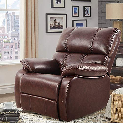 LCH Reclining Leather Sofa Chair – Ergonomic Design Oversized Rocker Recliner Perfectly Living R ...