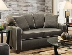 Albany RTA Chloe Love Seat with Contrasting Welt and 2 Toss Pillows