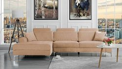 Divano Roma Furniture Modern Large Linen Fabric Sectional Sofa, L-Shape Couch with Extra Wide Ch ...