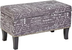 First Hill Endora Rectangular Fabric Storage Ottoman with Script-Style Pattern – Storm Grey