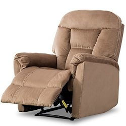 BONZY Manual Recliner Chair Modern Living Room Furniture Durable Fram, Mocha