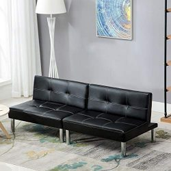 Mecor PU Leather Convertible Futon Sofa Bed, Detachable Sofa Sleeper/Recliner Couch, Back Adjust ...