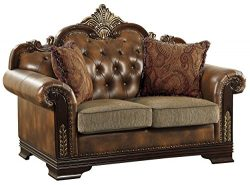 Homelegance Croydon Traditional Two-Tone Love Seat, 65″W, Brown PU Leather