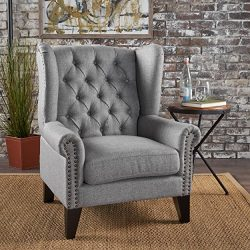 Christopher Knight Home 302087 Laird Traditional Winged Fabric Accent Chair, Grey/Dark Brown