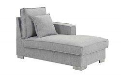 Classic Living Room Linen Fabric Chaise Lounge (Light Grey)