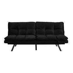 Dwell Home Inc SI-CA-POR-K Simmons Portland Memory Foam Seating Black Convertible Sofa, One Size