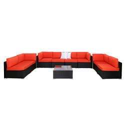 Kinbor 9PC Outdoor Sectional Sofa Set Rattan Wicker Patio Furniture Sofas with Washable Cushions ...