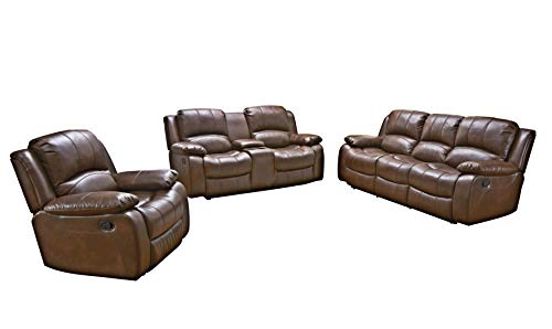 Betsy Furniture 3PC Bonded Leather Recliner Set Living Room Set in Brown, Sofa Loveseat Chair Pi ...